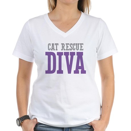 Cat Rescue DIVA Women's V-Neck T-Shirt