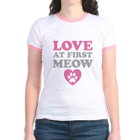 Love At First Meow Jr. Ringer T-Shirt