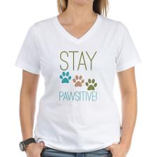 Stay Pawsitive Women's V-Neck T-shirt